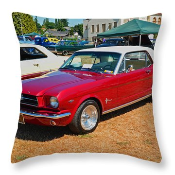 Throw Pillow featuring the photograph 1964 Ford Mustang by Tikvah's Hope