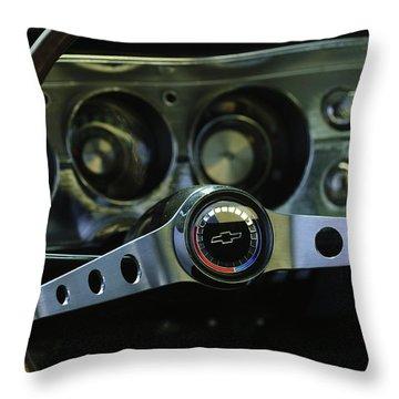 1965 Chevrolet Chevelle Malibu Ss Steering Wheel Throw Pillow by Jill Reger