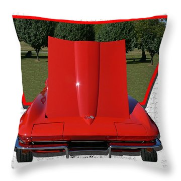 Throw Pillow featuring the photograph 1965 Corvette by EricaMaxine  Price