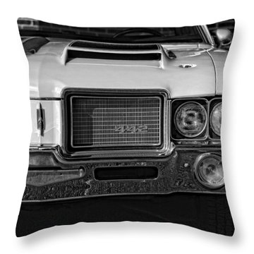 1972 Olds 442 Black And White  Throw Pillow by Gordon Dean II