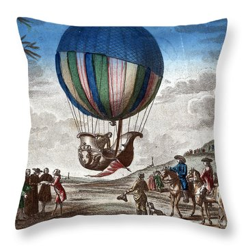 1st Manned Hydrogen Balloon Flight, 1783 Throw Pillow by Photo Researchers