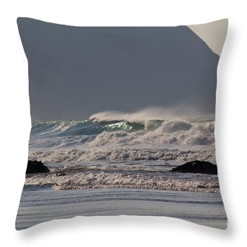 Porthtowan Cornwall Throw Pillow by Brian Roscorla