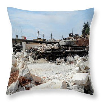 A Russian T-72 Main Battle Tank Throw Pillow by Andrew Chittock
