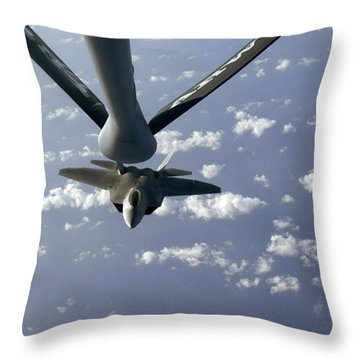 A Three Ship Formation Of F-22 Raptors Throw Pillow by Stocktrek Images