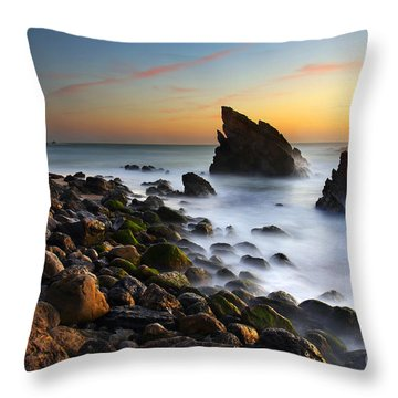 Adraga Beach Throw Pillow by Carlos Caetano