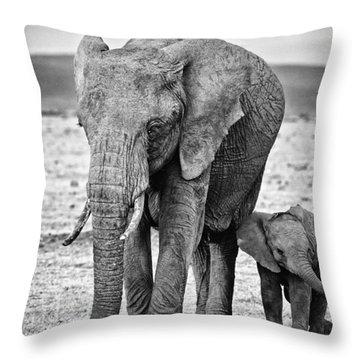 African Elephants In The Masai Mara Throw Pillow