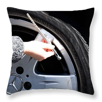 Air Pressure Gauge Throw Pillow by Photo Researchers