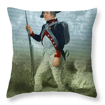 American Continental Soldier Throw Pillow by Photo Researchers