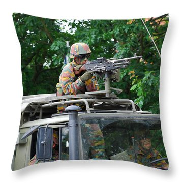 An Infantry Soldier Of The Belgian Army Throw Pillow by Luc De Jaeger