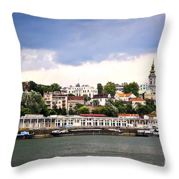 Belgrade Cityscape On Danube Throw Pillow by Elena Elisseeva