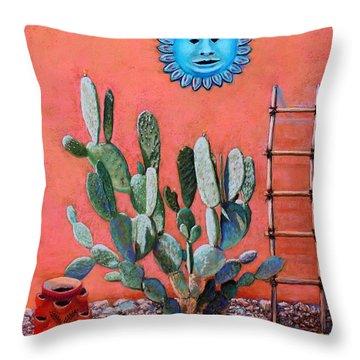 Blue Sun Throw Pillow by M Diane Bonaparte