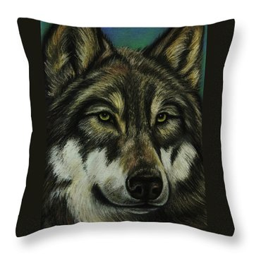 Blue Wolf Throw Pillow by Lucy Deane