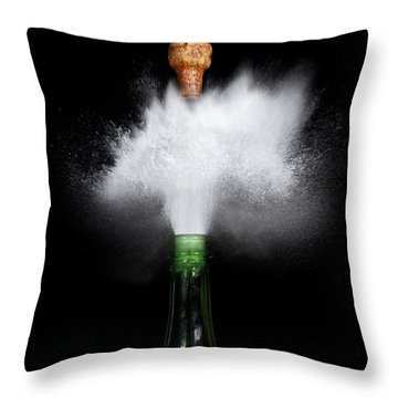 Champagne Cork Popping Throw Pillow by Ted Kinsman