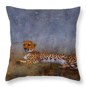 Cheetah Throw Pillow by Ron Jones