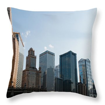 Chicago City Center Throw Pillow by Carol Ailles