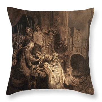 Christ Before Pilate Throw Pillow by Granger