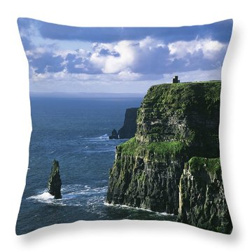 Cliffs Of Moher, Co Clare, Ireland Throw Pillow by The Irish Image Collection