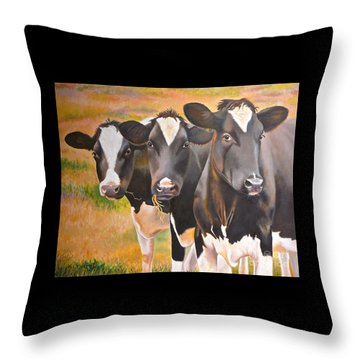 Curious Trio Throw Pillow by K L Kingston
