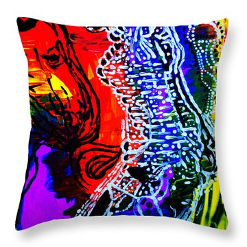 Throw Pillow featuring the painting Dinka Bride by Gloria Ssali