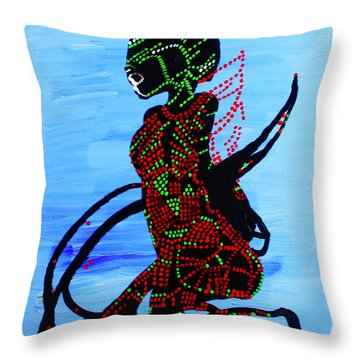 Dinka Bride - South Sudan Throw Pillow by Gloria Ssali