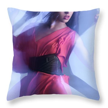 Fashion Photo Of A Woman In Shining Blue Settings Throw Pillow by Oleksiy Maksymenko