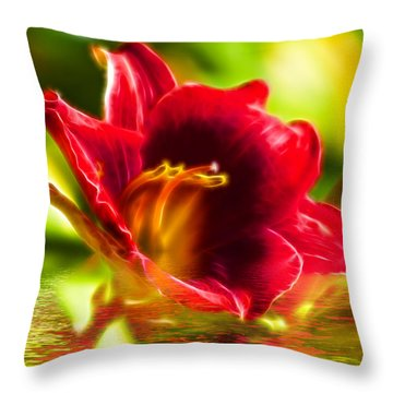 Floral Fractals And Floods Digital Art Throw Pillow by David French