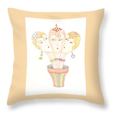 Throw Pillow featuring the painting Flower Pot Ladies by Nareeta Martin