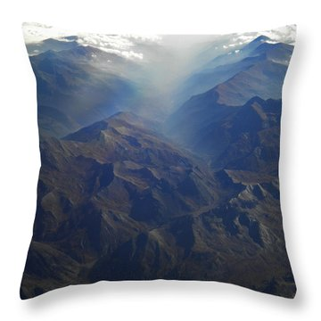 Throw Pillow featuring the photograph Flying Over The Alps In Europe by Colette V Hera  Guggenheim