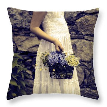 Girl With Flowers Throw Pillow by Joana Kruse