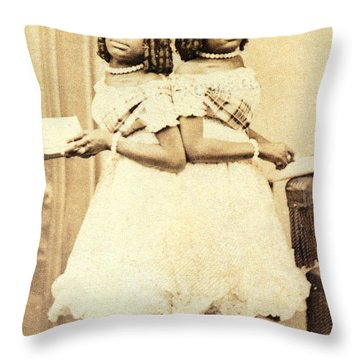 2 Headed Girl Millie-chrissie Throw Pillow by Photo Researchers