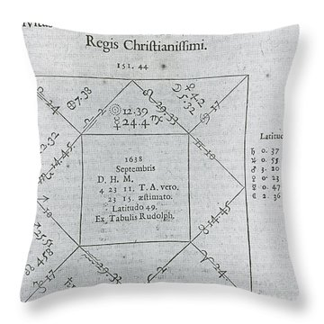 Horoscope Chart For Louis Xiv, 1661 Throw Pillow by Science Source