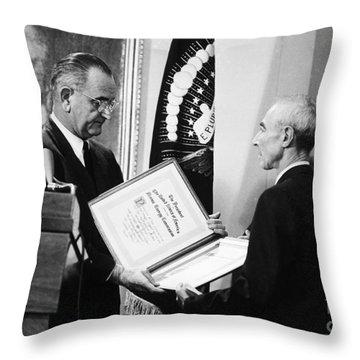 J. Robert Oppenheimer Throw Pillow by Granger