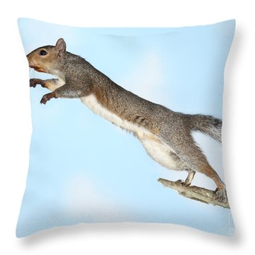 Jumping Gray Squirrel Throw Pillow by Ted Kinsman