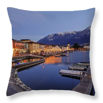Lake Maggiore - Ascona Throw Pillow by Joana Kruse