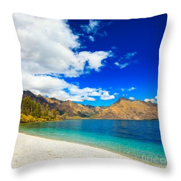 Lake Wakatipu Throw Pillow by MotHaiBaPhoto Prints