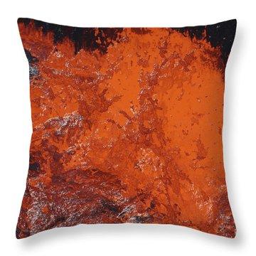 Lava Bursting At Edge Of Active Lava Throw Pillow by Richard Roscoe