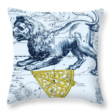 Leo, The Hevelius Firmamentum, 1690 Throw Pillow by Science Source