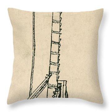 Leonardo Da Vincis Lifting Gear Throw Pillow by Science Source