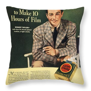 Lucky Strike Cigarette Ad Throw Pillow by Granger