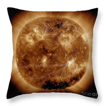 Magnetic Field Lines On The Sun Throw Pillow by Stocktrek Images