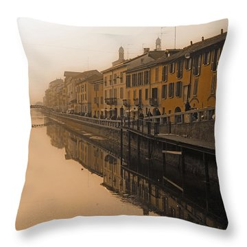 Milan Naviglio Grande Throw Pillow by Joana Kruse