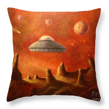 Mysterious Planet Throw Pillow by Randy Burns