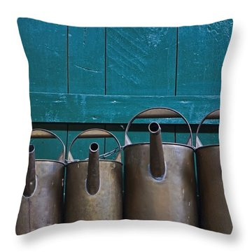 Old Watering Cans Throw Pillow by Joana Kruse