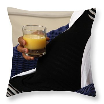 Pregnant Woman Drinking Orange Juice Throw Pillow by Photo Researchers