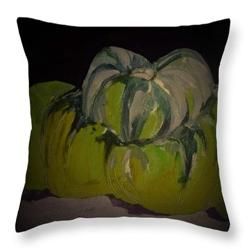 Throw Pillow featuring the painting Pumpkin by Andrew Drozdowicz