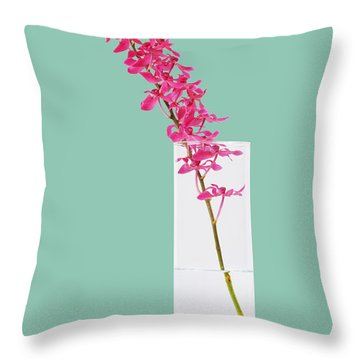Red Orchid Bunch Throw Pillow by Atiketta Sangasaeng