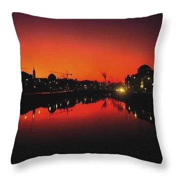 River Liffey, Dublin, Co Dublin, Ireland Throw Pillow by The Irish Image Collection
