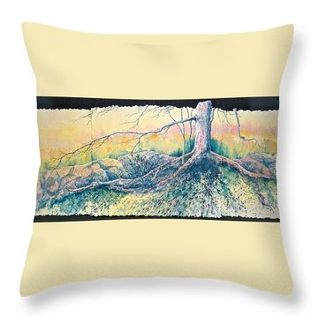 Throw Pillow featuring the painting Rooted In Time by Carolyn Rosenberger