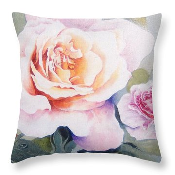 Throw Pillow featuring the painting Roses And Waterdroplets by Sandra Phryce-Jones
