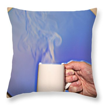 Schlieren Image Of Hot Coffee Cup Throw Pillow by Ted Kinsman